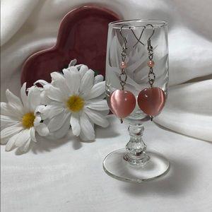 "Gorgeous Pink Glass Heart Dangle Earrings 2"" Drop"